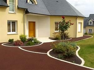 enrobe permeable rouge cote exterieur a mayenne 53 With exemple de jardin de maison 5 les entrees de garage en enrobe