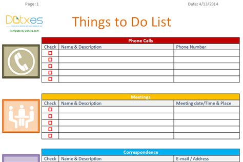 things to do template to do list template business version dotxes
