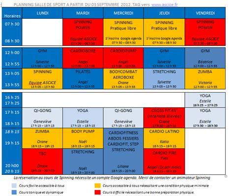 salle de sport par mois planning salle de sports pour la saison 2012 2013 ascice une association qui bouge aussi
