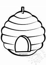 Beehive Coloring Cartoon Spring sketch template