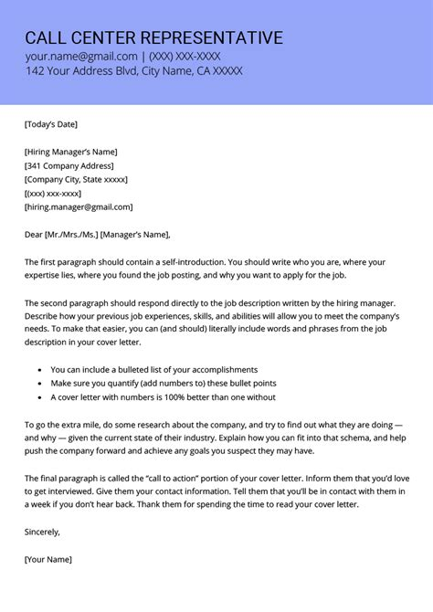 Call Center Cover Letter by Call Center Representative Cover Letter Exle Template