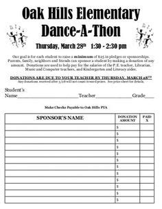 dance  thon pledge form dance national junior honor