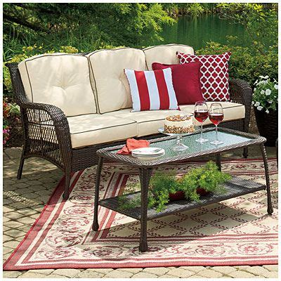 wilson and fisher patio furniture cover wilson fisher 174 barcelona resin wicker cushioned sofa