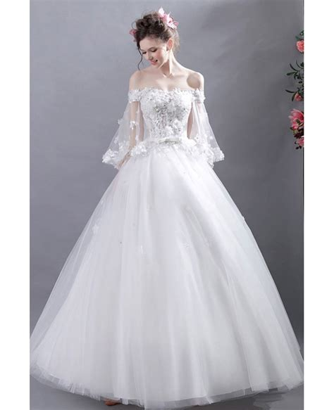 fairy  shoulder sleeves ball gown wedding dress