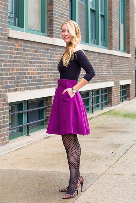 winter fashion purple skater skirt outfit style  joules