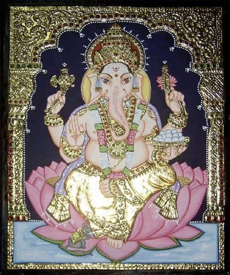 pastel ganesha indian painting miniature and divinity