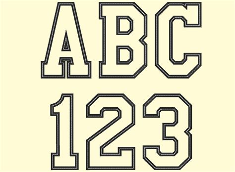 sport collegiate block applique font machine embroidery etsy