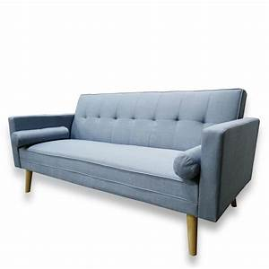 amy brand new blue or grey fabric click clack sofa bed With flip down sofa bed