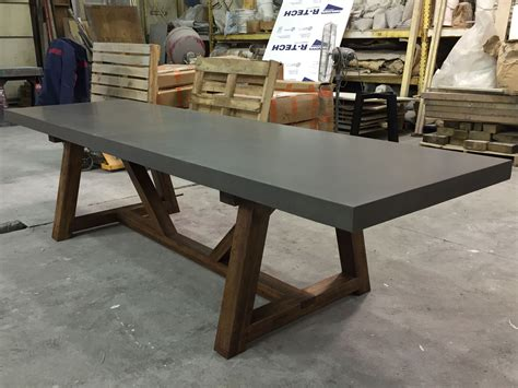 hand crafted concrete dining table   castings