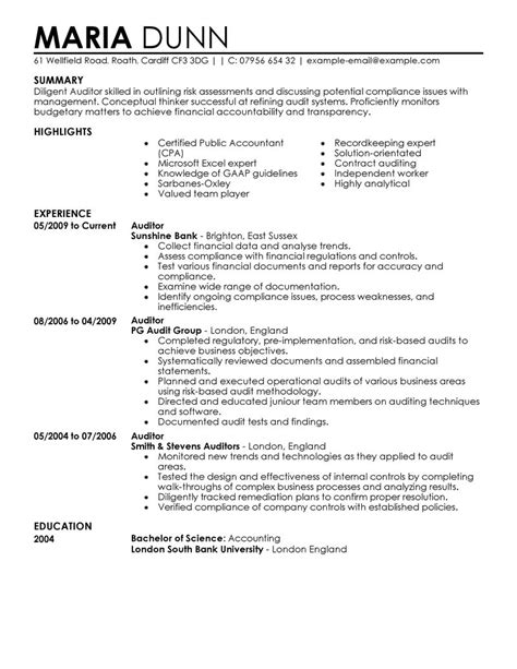 auditor resume exle finance sle resumes livecareer