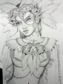Aztec Girl Warrior Drawing
