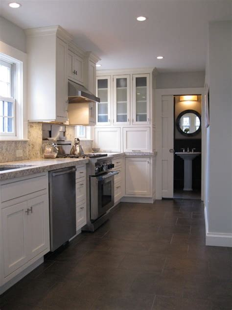 Transitional Kitchen With Custom Cabinets & Powder Room