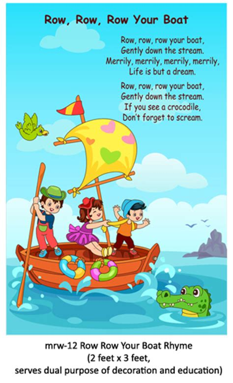 Row Your Boat Menu by Play School Rhymes For Play School Class Room Wall