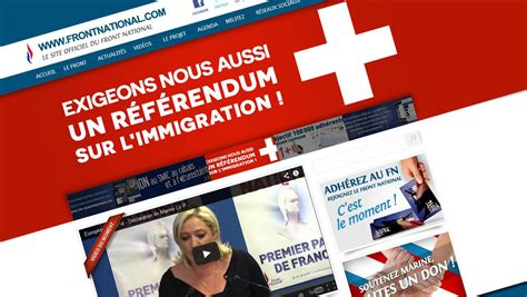 si e du front national le front national arbore un drapeau suisse sur site