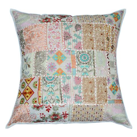 Oversized Decorative Pillow Covers by White Oversized Vintage Boho Patchwork Square Indian Throw