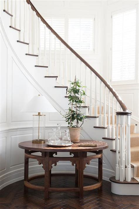 curved staircase wall   table transitional
