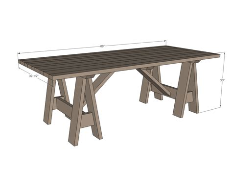 outdoor table dimensions ana white sawhorse outdoor table diy projects