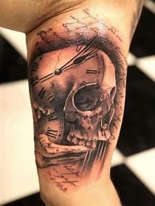 skull clock tattoo   Skull + clock face + script tattoo ...