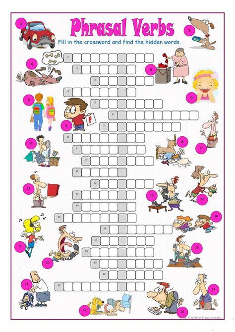 phrasal verbs crossword puzzle worksheet  esl