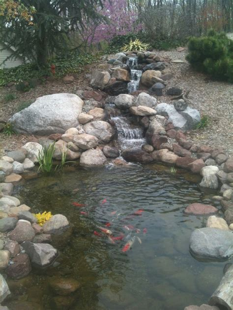 waterfalls for fish ponds backyard fish pond and waterfall c e pontz sons landscape contractors
