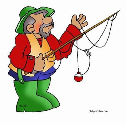 Fisherman Clip Fishing Clipart Sports Funny Cartoon