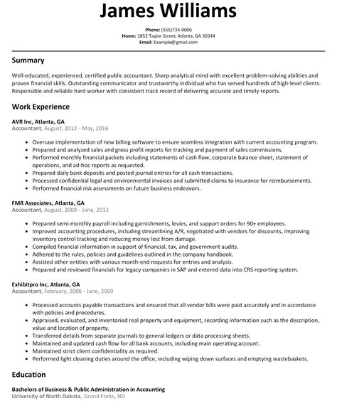 resume for an accountant cpa resume resume templates