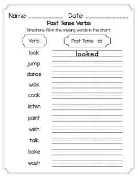 regular verbs worksheets for grade 1 past tense regular verbs worksheet by designs by miss c tpt