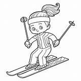 Skiing Coloring Cartoon Dreamstime Children Illustrations Illustration Vectors sketch template