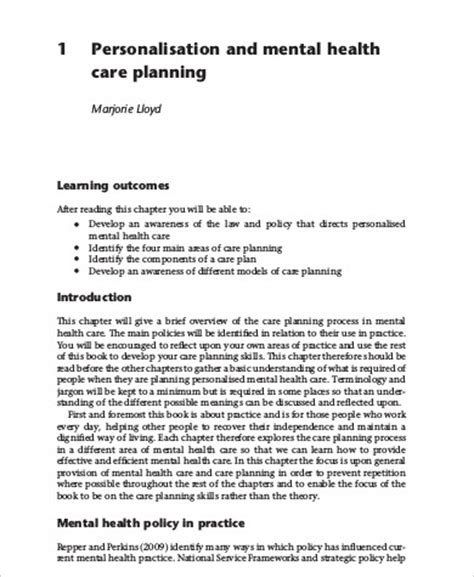 sample care plan   examples  word