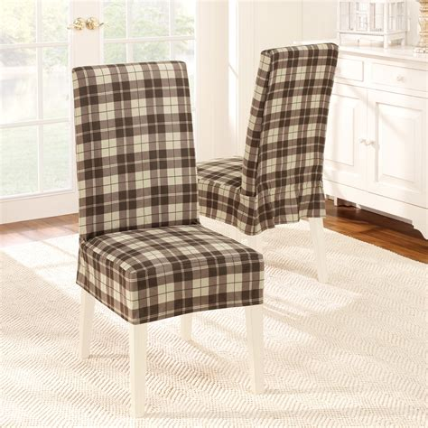 sure fit soft suede plaid dining room chair cover at