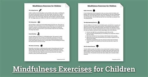 mindfulness activities for children worksheet