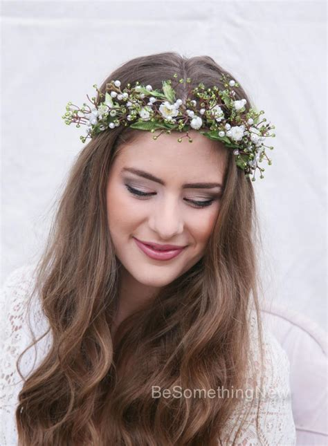 rustic flower crown  green beads leaves  beaded