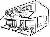 Coloring Grocery Pages Supermarket Drawing Building Children Popular Clipartmag sketch template