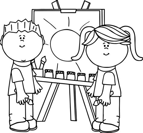 kids making painting coloring page wecoloringpagecom