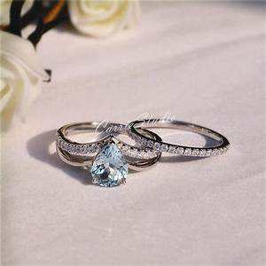 Carriestudio natural aquamarine ring set aquamarine for Promise ring engagement ring wedding ring set