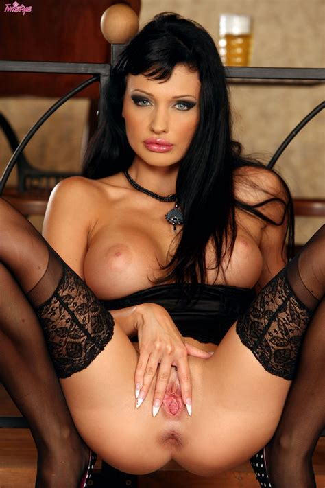aletta ocean in black stockings and heels posing and toying her pussy my pornstar book