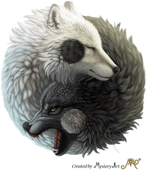 yin  wolves  sunima artwork   yin  wolf