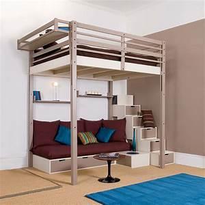 Lit Mezzanine 2 Places Avec Bureau : charmant chambre avec lit mezzanine 2 places avec lit ~ Melissatoandfro.com Idées de Décoration
