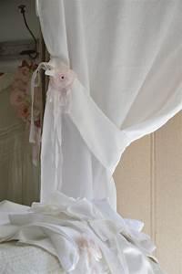 Embrases Double Rideaux : rideau lin volant dentelle blanche le grenier d 39 alice ~ Teatrodelosmanantiales.com Idées de Décoration