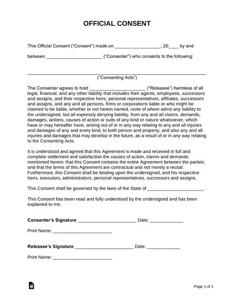 consent form template sample  word eforms
