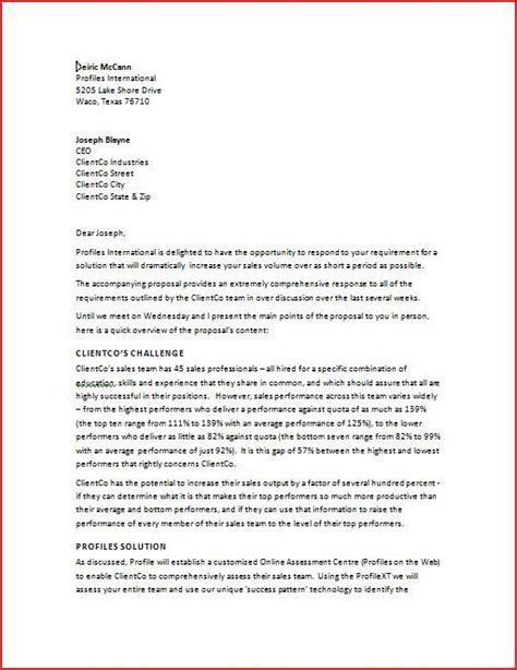 business proposal cover letter sample cover