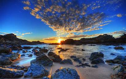 Wallpapers Hdr Landscape Sea Golden Sunset Nature