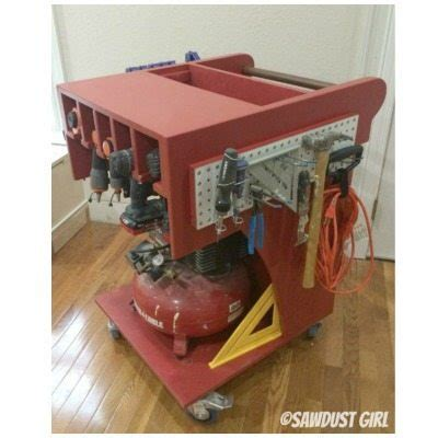 Rolling Tool Cart and Air Compressor Storage   Sawdust Girl®