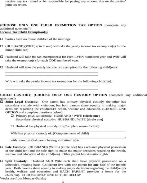 separation agreement template nc carolina separation agreement template for free page 6 formtemplate