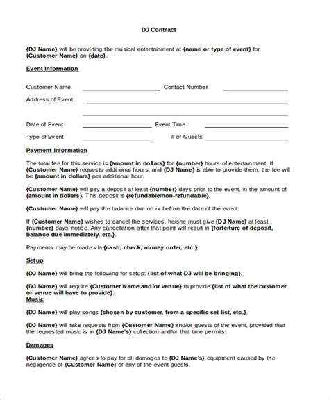 dj contract template disc jockey contracts template template business