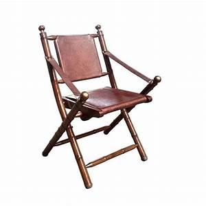 Chaise Pliante Vintage En Cuir Et Bambou Achat Vente