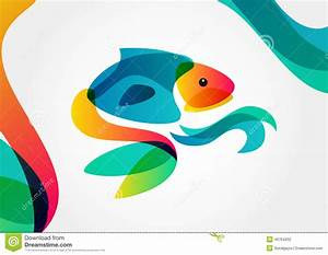 Abstract Tropical Fish On Colorful Background, Logo Design ...