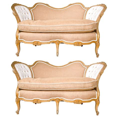 pair of carved louis xv style canape settees for sale at