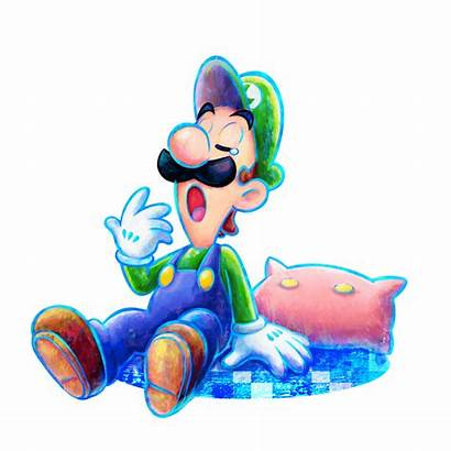 Luigi Mario Dream Team Artwork 3ds Yawning
