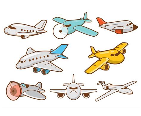 Cartoon Airplane Vector Set Vector Art & Graphics